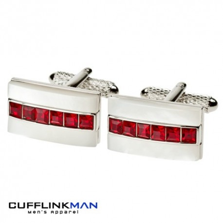 DUNE Ruby Crystal and Mother of Pearl Cufflinks