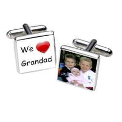 We Love Grandad Photo Cufflinks - Personalised Cufflinks