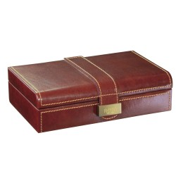 Dulwich Designs Heritage Cufflink Box, Leather, Brown