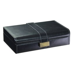 Dulwich Designs Heritage Black Leather Cufflink Box