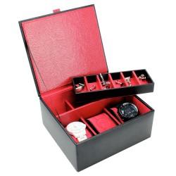 Dulwich - Black leather 3 piece watch & Cufflink case