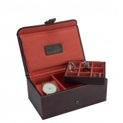 Jacob Jones Khaki Watch and  Cufflink Box
