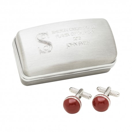 Cricket Ball Cufflinks And Personalised Engraved Cufflinks Box