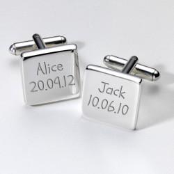 Personalised Names & Birthday Cufflinks