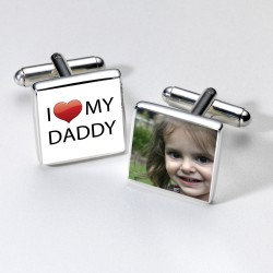 I Love Daddy Photo Cufflinks- Personalised Cufflinks