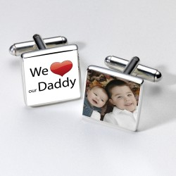 We Love Our Daddy Photo Cufflinks- Personalised Cufflinks