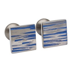 Ti2 Titanium - Square Blue Textured Cufflinks