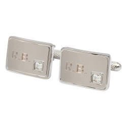 Engraved Initials Cufflinks with Crystal