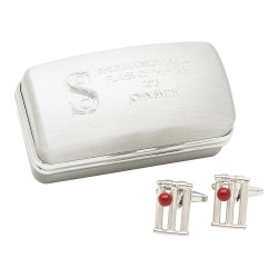 Cricket Wicket Cufflinks And Personalised Engraved Box