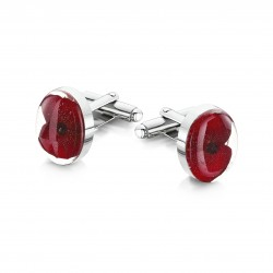 Poppy Real Flower Cufflinks