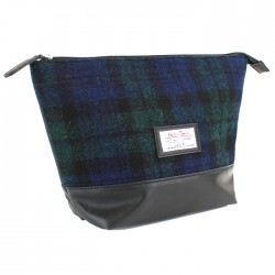 Black Watch Tartan Washbag - Harris Tweed - British Bag Company