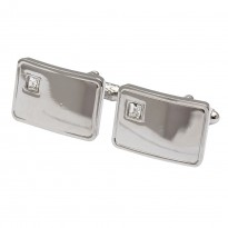Silver Crystal Cufflinks