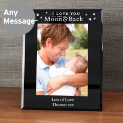 Moon and Back Glass Frame - Personalise With Your Message