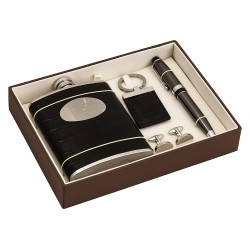 Luxury Boxed Gift Set - Hip Flask, Cufflinks, Key Ring  Pen