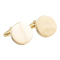 Round Gold Cufflinks Luxury Deep Sided