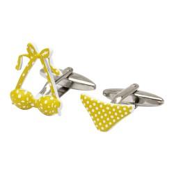 Yellow Polka Dot Bikini Cufflinks
