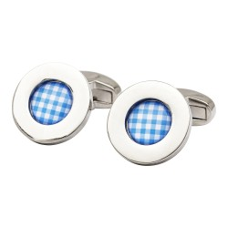 Gregor Gingham Cufflinks - Blue Edition