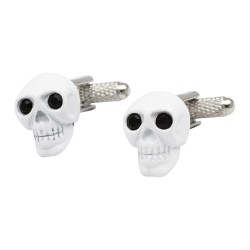 White Skull Cufflinks with Black Crystal Eyes