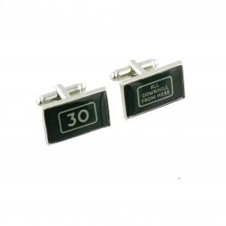 All Downhill from Here - 30th Birthday - Cufflinks