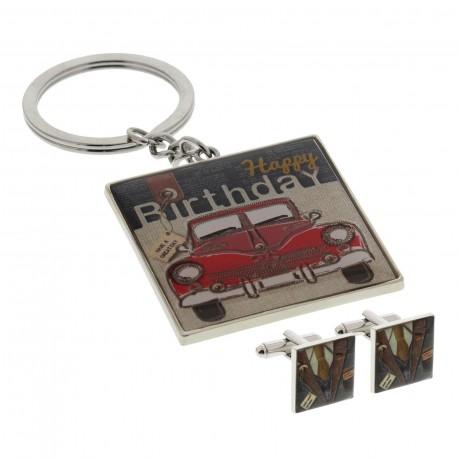 Happy Birthday - Key Ring and Cufflink Set