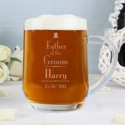 Personalised Father of the Groom Glass Tankard