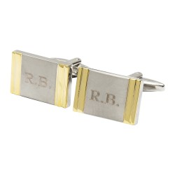 Gold Strip Initials Cufflinks