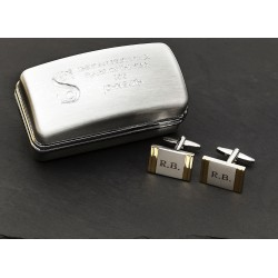 Gold Strip Initials Cufflinks and Engraved Box