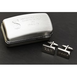 Initials and Date Wedding Cufflinks In Engraved Box