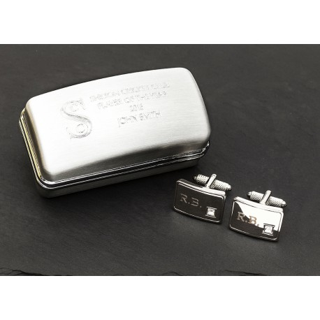 Engraved Initials Crystal Cufflinks with Engraved Box