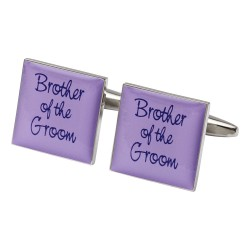 Square Lilac - Brother of the Groom Cufflinks