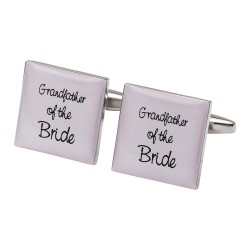Grandfather of the Bride Cufflinks Square Pale Pink