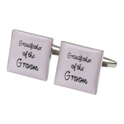 Square Pale Pink - Grandfather of the Groom Cufflinks