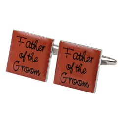 Square Orange- Father of the Groom Cufflinks