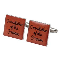 Square Orange- Grandfather of the Groom Cufflinks