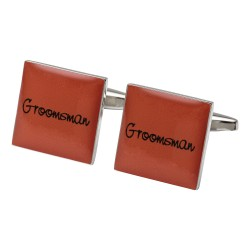 Square Orange - Groomsman Cufflinks