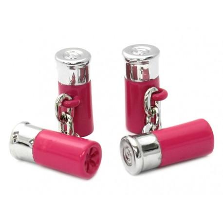 Pink Chain-Link Shotgun Cartridge Cufflinks