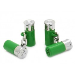 Green Chain-Link Shotgun Cartridge Cufflinks