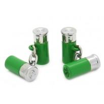 Green Chain-Link Shotgun Cartridge Cufflinks