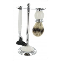 White Shaving set with Bristle Brush