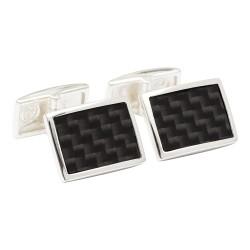 Fredbennett 925 Silver with Carbon Fibre Designer Cufflinks