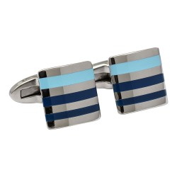 Fredbennett Stainless Steel with Blue Enamel Stripes Designer Cufflinks