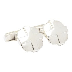 Cross Overlay 925 Silver Designer Cufflinks from fredbennett