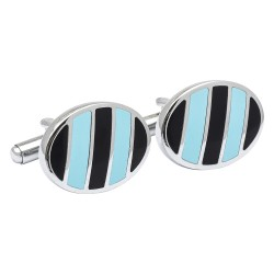 Navy and Sky Stripes Cufflinks