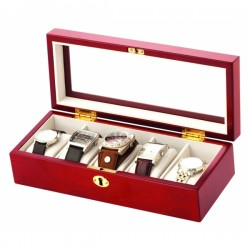 Birkdale Lockable Wooden 5 Watch Box