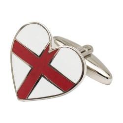 St George Cross Heart Cufflinks