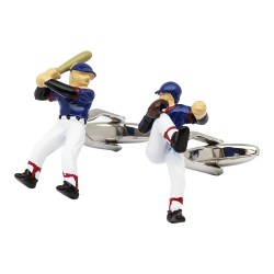 Baseball Player Cufflinks - Pitcher and Batter Baseball Cufflinks