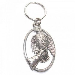 Hawk on Glove Pewter Key Ring