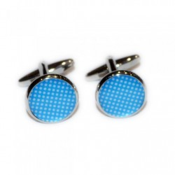 Blue Speckled Polka Dot Cufflinks