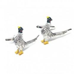 Colourful Rhodium Plated Pheasant Cufflinks