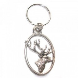 Stag Head Pewter Key Ring